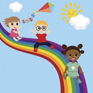 Illustration of children slide down on a rainbow. Background with rainbow and clouds.