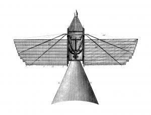 19th-century illustration of an early flying machine (isolated on white). Published in Systematischer Bilder-Atlas zum Conversations-Lexikon, Ikonographische Encyklopaedie der Wissenschaften und Kuenste (Brockhaus, Leipzig) in 1875.